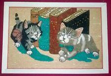VTG 1950s 60s GRAVEL Plastic Pebble MOSAIC Mid Century WALL ART Kittens CATS