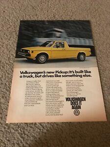 Vintage 1979 VOLKSWAGEN PICKUP TRUCK Print Ad VW YELLOW 1970s RARE