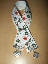 Handmade French Bulldog Ribbon Bookmark Charm Dog Puppy White Paw Best Friend
