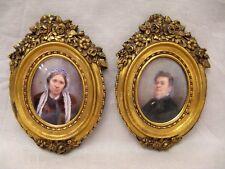 Deux miniatures avec cadres en bronze portraits de la famille Romanet XIX siècle