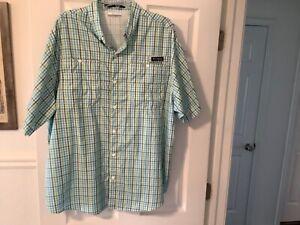 Columbia PFG Super Tamiami Omni-Shade Plaid Vented Fishing Short Sleeve Shirt XL