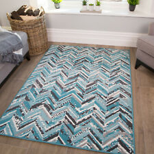 Modern Geometric Rugs | Small Large Teal Rug | Cheap Living Room & Bedroom Mats