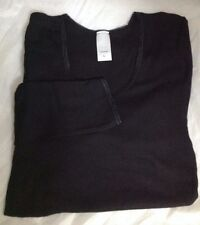 QUALITY LONG SLEEVE THERMAL VEST BLACK IVORY ALL SIZES EX CHAIN STORE DE-TAGGED