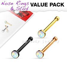 Bone Pvd Plated Surgical Steel Nose Stud 3 pcs Value Pack 2.5mm Opal Set Nose