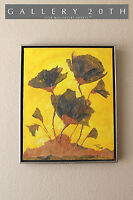 MID CENTURY MODERN ABSTRACT FLOWERS EXPRESSIONIST ART! PAINTING DECOR VTG 60S