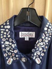 Bradley Bayou Blue Leather Coat with Bling!  NWOT Medium