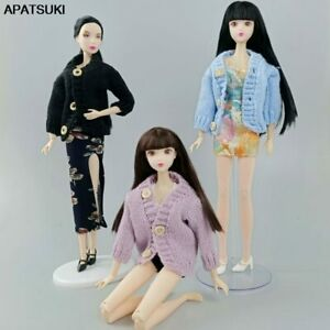Fashion Knitted Coat Sweater For Barbie Doll Clothes Winter Warm Outfits 1/6 Toy