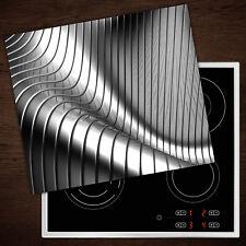 Herdabdeckplatten aus Glas Spritzschutz Silber 3D-Muster - 60x52 cm