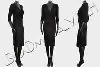 GIVENCHY 995$ Authentic New Black Silk Blend Jersey Draped Pencil Dress sz 38 6