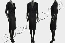 GIVENCHY 995$ Authentic New Black Silk Blend Jersey Draped Pencil Dress sz 40 8