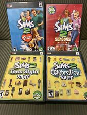 (4) Sims 2 PC Expansion Packs CIB - Seasons, Pets, Celebration and Teen Style