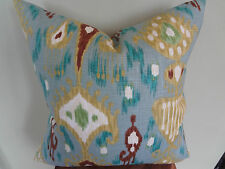 Decorative Pillow Cover Ikat Pattern Blue Turquoise Green Brown White Toss Pillo
