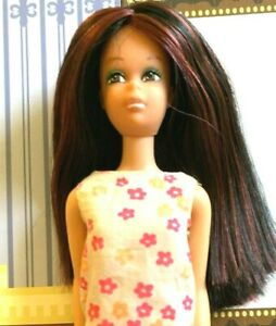 Beautiful Vintage Hi-Color Francie Shiny Black and Crimson Red Hair OOAK! WOW!