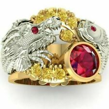 Hop Punk Party Jewelry Gift Size 8 Fashion Gold Dragon Rings Ruby for Men Hip