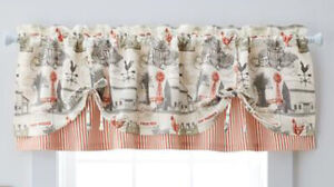 Rustic Farm Tie-Up Valance 60x16 Farmhouse Rooster Country Windmill Gray Barn