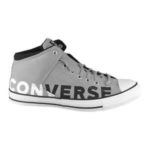 "CONVERSE CANVAS LEATHER MID CHUCK TAYLOR ""ALL STAR"" HI STREET BLACK WHITE UNISEX"