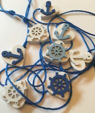 Nautical Garland/Bunting Shabby Chic Real Wood Mini Hearts Navy Blue White 6ft