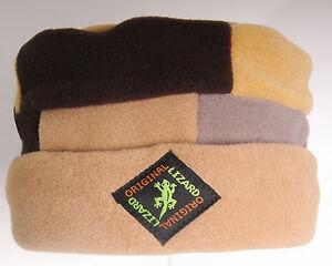 Brown Patchwork Porkpie Fleece Hat by Original Lizard