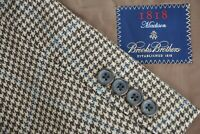 Brooks Brothers Madison Cashmere Blend Brown Blue Plaid Sport Coat Jacket Sz 42L