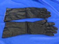 VTG FOWNES MAKE Longer Length BLACK LEATHER GLOVES Vintage SOFT WASHABLE KID 7