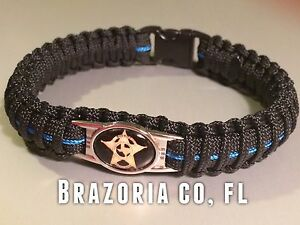 Thin Blue Line *  Paracord Bracelet * Brazoria County, TX * Sheriff's Dept *