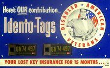 1954 California Disabled Veterans Idento Tags - MINT & UNUSED ON ORIGINAL CARD
