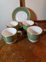 Lot of 4 Demitasse Cups Shenango China Green & Gold Stripes N-22 Espresso Saucer