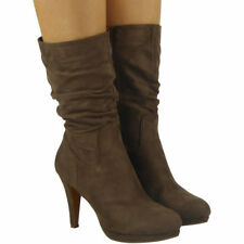 Womens Ladies High Stiletto Heel Faux Suede Mid Calf Rouched BOOTS Shoes Size Khaki UK 8 / EU 41 / US 10