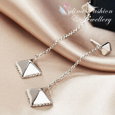 18K White Gold Plated Simulated Diamond Stylish Dangling Star Earrings Jewellery