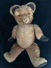 Antique Vintage Articulated Teddy Bear Jointed Mohair Glass Eyes Chest Rattles