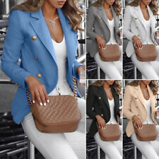 Women Button Slim Fit Blazer Casual OL Work Jacket Long Sleeve Outwear Suit Coat