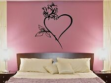 Wall Decal Heart Rose Flower Love Passion Bedroom Art Vinyl Stickers (ed268)