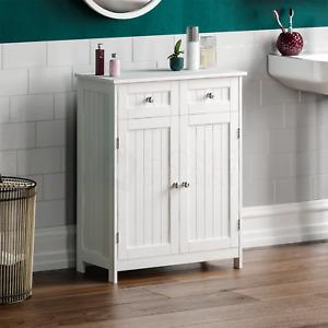 Priano Freestanding Cabinet 2 Door 2 Drawer White Vanity Storage Cupboard Unit