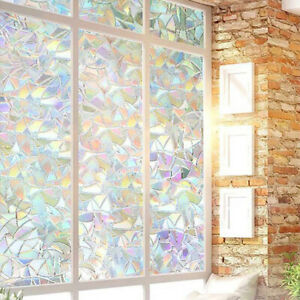 Rainbow Reflective 3D Window Film Self-adhesive Privacy Static Glass StickerL_hg
