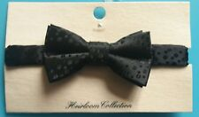 Heirloom Collection Childs Self Pattern Bow Tie, Black, M/L, New