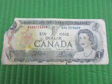 Canada Paper Money 1 Dollar Bank of Canada Un One Dollar