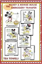 Mickey & Minnie Mouse Tea Towels embroidery transfer pattern Dow # 796 Iron-On