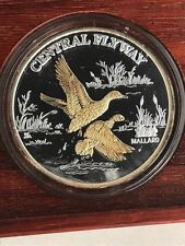 Duck's Unlimited Central Flyway 1oz. Silver Round w/ Gold Gilding in Brown Box