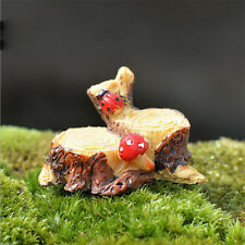 1pc Miniature Resin Tree Stump Ladybug Figure Fairy Garden Bonsai Ornament Decor