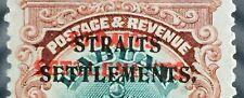 RARE DOUBLE OPT MALAYA STRAITS SETTLEMENTS Labuan Crown 4c on 16c SG#145 M2865