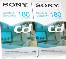 2 Cassettes VHS 180 min video vierges 3 heures K7 neuves lot grande marque neuf