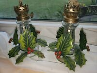 VINTAGE Oil Lamp Glass Lamps Holly set of 2
