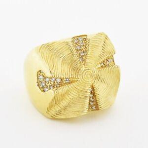 14k Yellow Gold Estate Sonia B Wide .50 TCW Diamond Ring Size 8