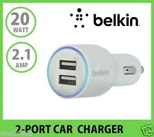 Universal Belkin 2-Port Car Charger 2.1 A White for Apple iPhone Samsung HTC LG