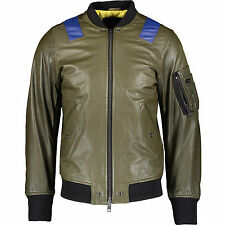 Diesel Military Green Leather Bomber Jacket XXL