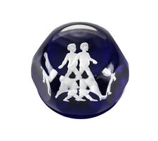 Baccarat Zodiac Cobalt Blue Art Glass Paperweight, Gemini. Cobalt blue white