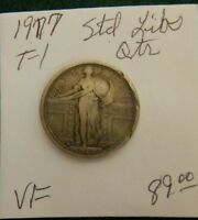 1917  Standing Liberty silver quarter - VERY FINE T-1