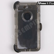 For iPhone 8 Plus Black Clear Case Cover (Belt Clip Fits Otterbox Defender)