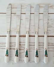 Christmas Tree Butter Knives Plastic & Stainless Steel Set of Five (5) Taiwan