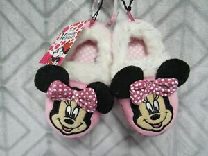 New Disney Minnie Mouse Slippers Size 9-10 Girls Pink Minnie Bow Ears Faux Fur